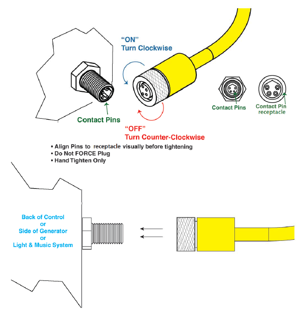 installing the control cable and placing the controller \u2013 thermasol Ceiling Fan Wiring Diagram screw the control cable into generator, carefully lining up contacts pins